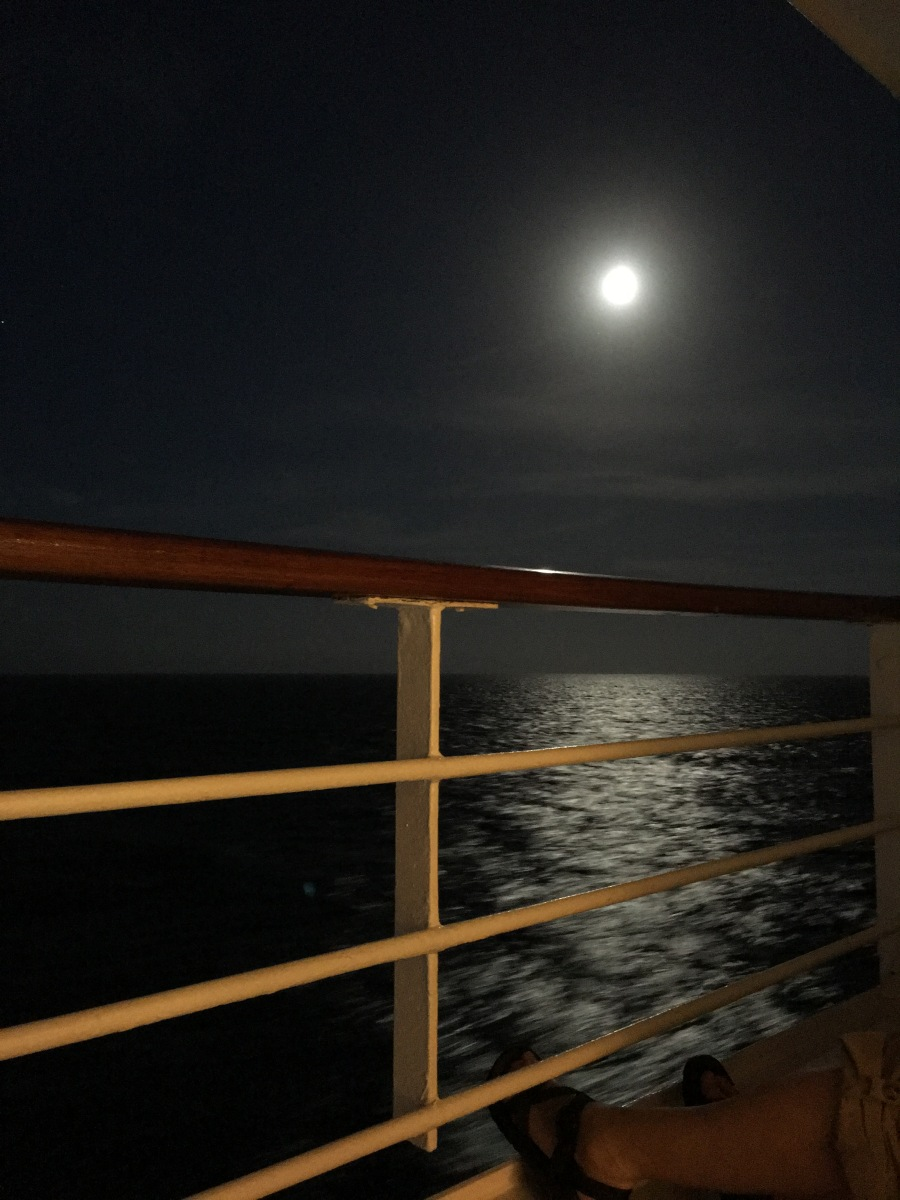 Sunset, moonrise. A theme on our cruise