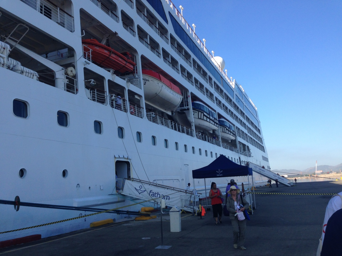 The Adonia: our room was above the orange lifeboat